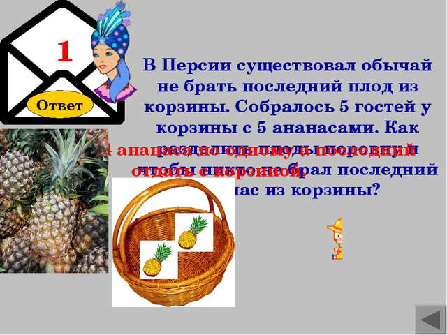 Ответ В Персии существовал обычай не брать последний плод из корзины. Собрало...