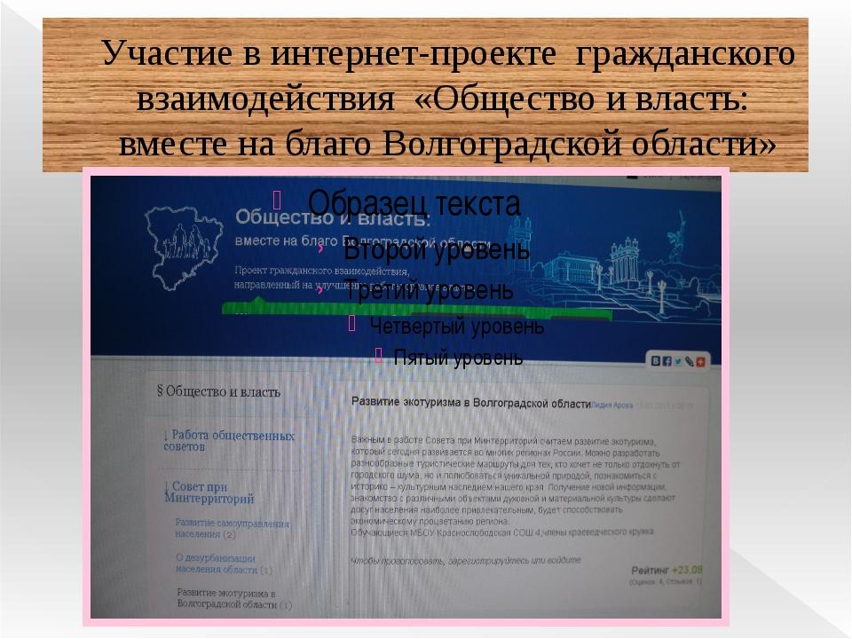 Участие в интернет-проекте гражданского взаимодействия «Общество и власть: вм...