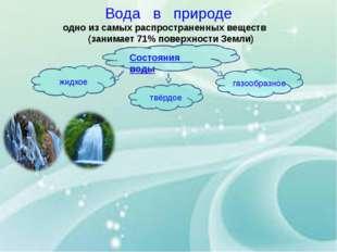 Вода в природе одно из самых распространенных веществ (занимает 71% поверхнос