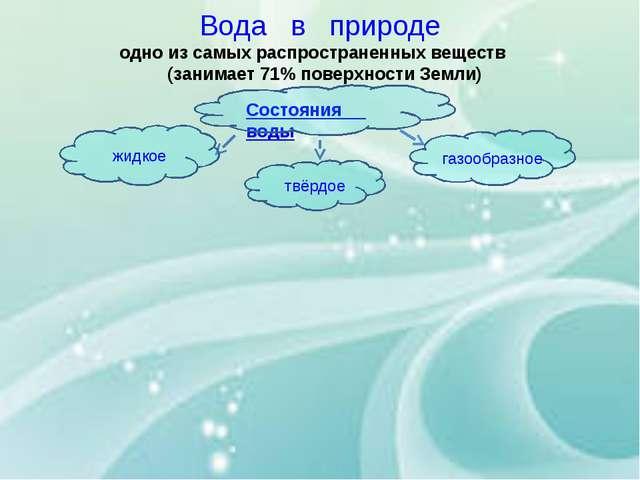 Вода в природе одно из самых распространенных веществ (занимает 71% поверхнос...