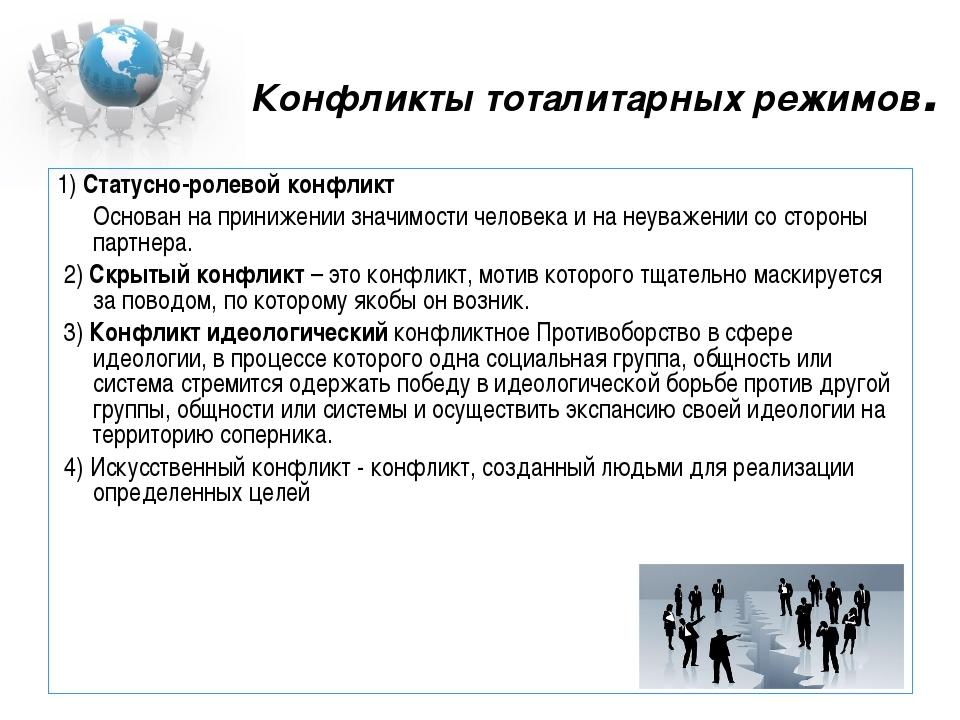 Конфликты тоталитарных режимов. 1) Статусно-ролевой конфликт Основан на при...