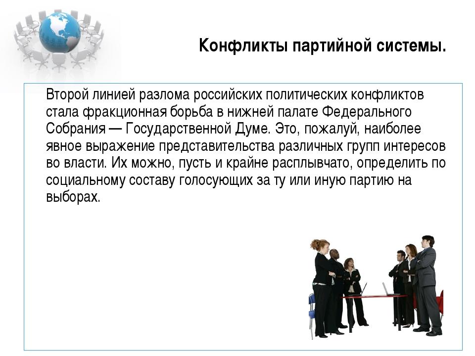 Конфликты партийной системы. Второй линией разлома российских политических к...