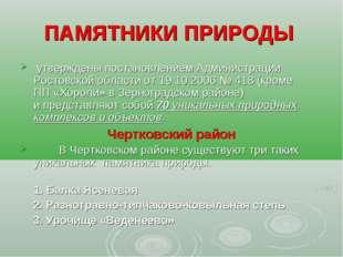 ПАМЯТНИКИ ПРИРОДЫ утверждены постановлением Администрации Ростовской области