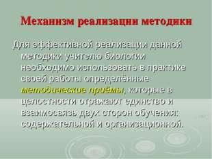 Механизм реализации методики Для эффективной реализации данной методики учите