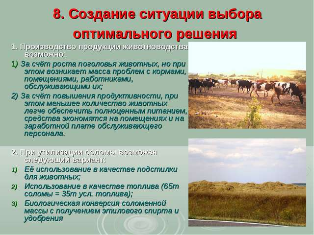 8. Создание ситуации выбора оптимального решения 1. Производство продукции жи...