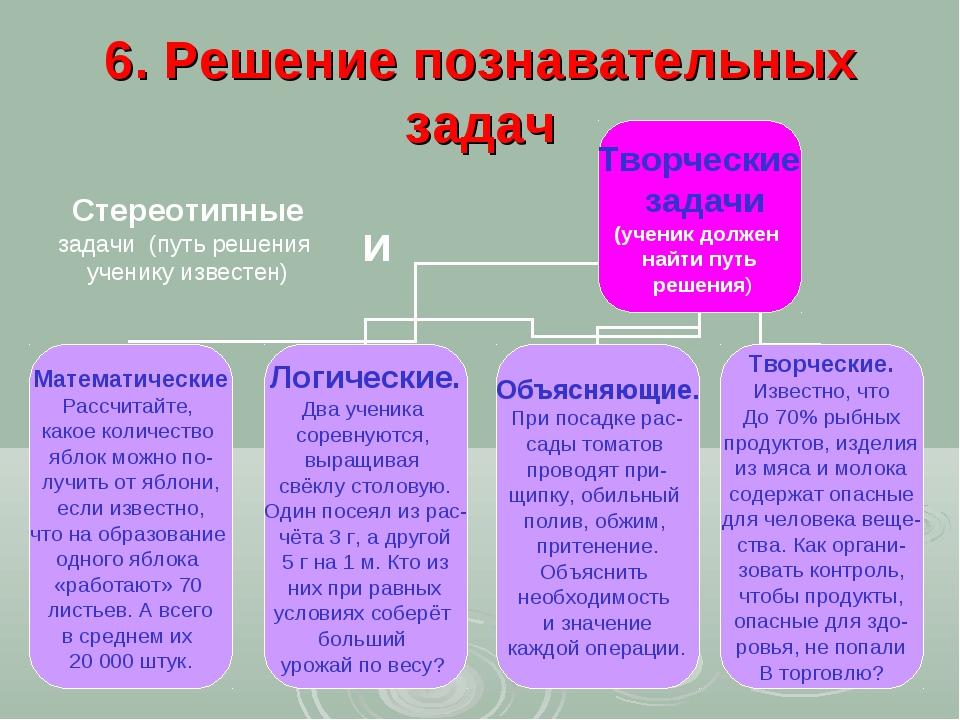 6. Решение познавательных задач Стереотипные задачи (путь решения ученику изв...