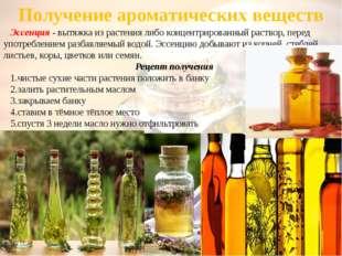 Получение ароматических веществ Эссенция - вытяжка из растения либо концентри