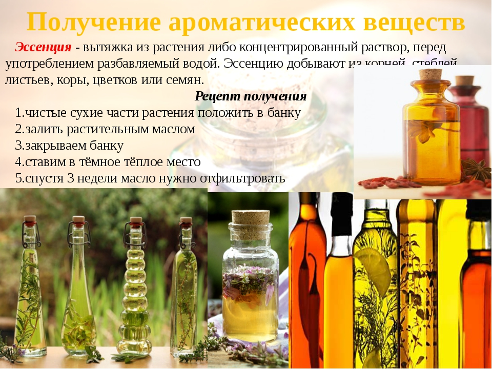 Получение ароматических веществ Эссенция - вытяжка из растения либо концентри...