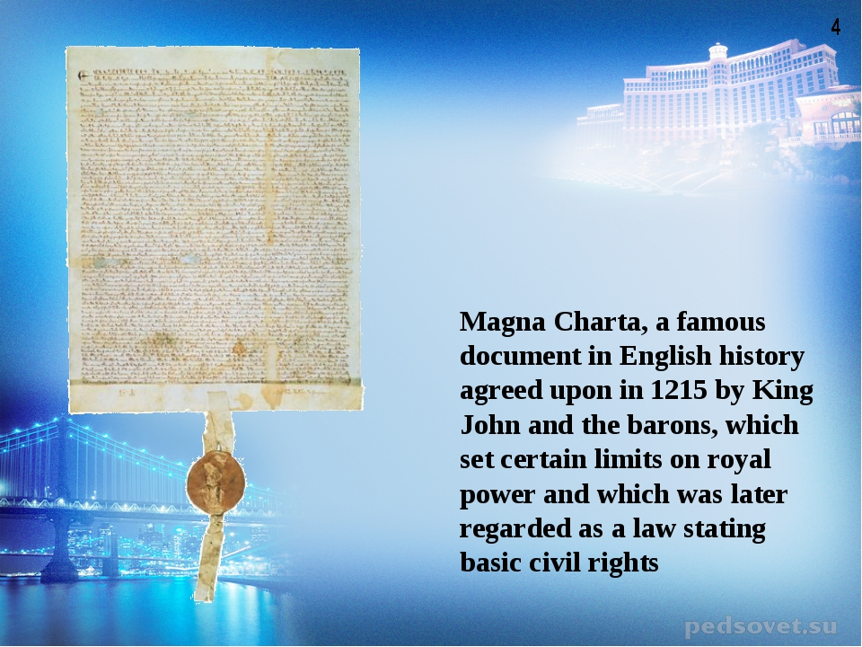 Magna Charta, a famous document in English history agreed upon in 1215 by Kin...