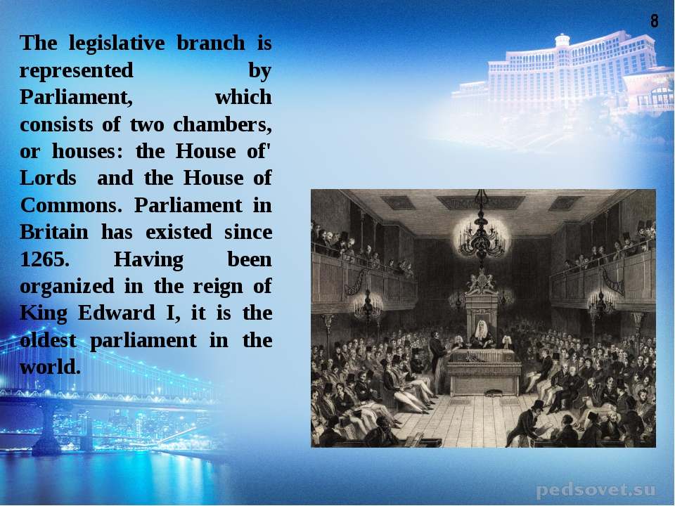 The legislative branch is represented by Parliament, which consists of two ch...