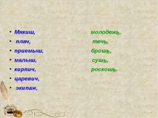 Мякиш, молодежь, плач, течь, приемыш, брошь, малыш, сушь, кирпич, роскошь. ц