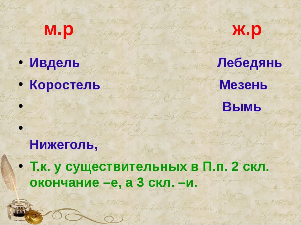 м.р ж.р Ивдель Лебедянь Коростель Мезень Вымь Нижеголь, Т.к. у существительн...