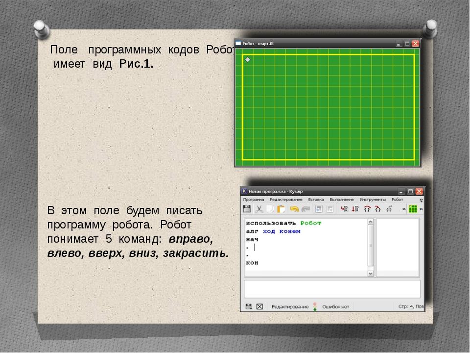 Поле программных кодов Робота имеет вид Рис.1. В этом поле будем писать прогр...