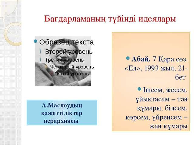 Бағдарламаның түйінді идеялары Абай. 7 Қара сөз. «Ел», 1993 жыл, 21-бет Ішсем...