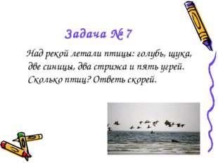 Задача № 7 Над рекой летали птицы: голубь, щука, две синицы, два стрижа и пят
