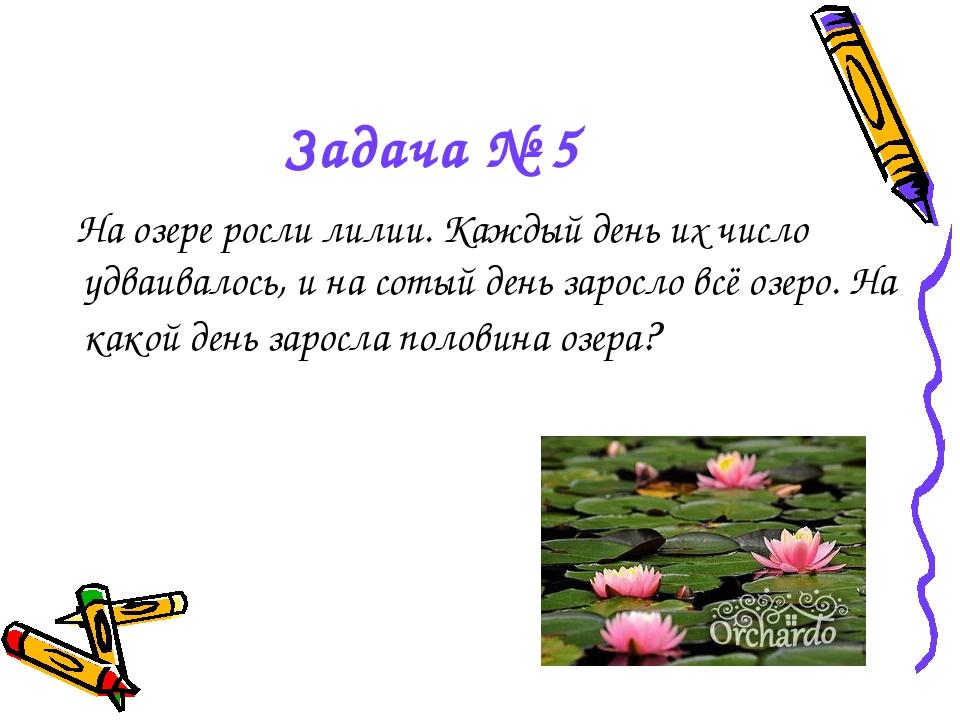 Задача № 5 На озере росли лилии. Каждый день их число удваивалось, и на сотый...