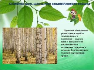 Основная цель школьного экологического кодекса Правовое обеспечение реализаци
