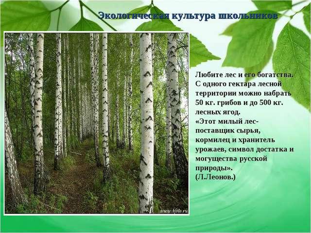 Экологическая культура школьников Любите лес и его богатства. С одного гектар...