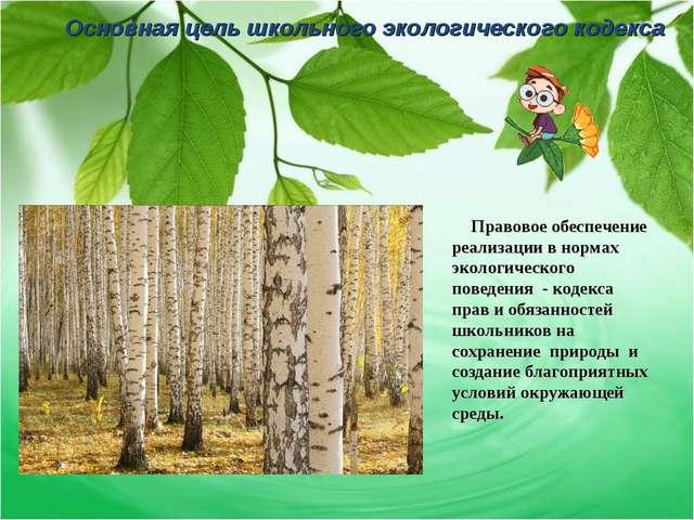 Основная цель школьного экологического кодекса Правовое обеспечение реализаци...