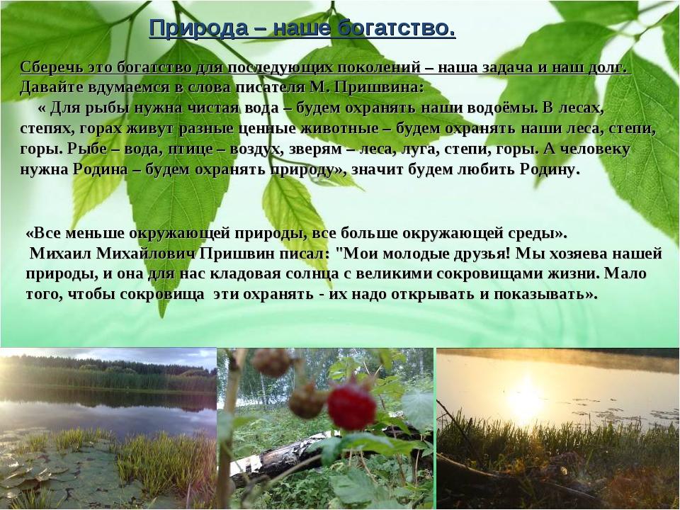 Природа – наше богатство. Сберечь это богатство для последующих поколений – н...