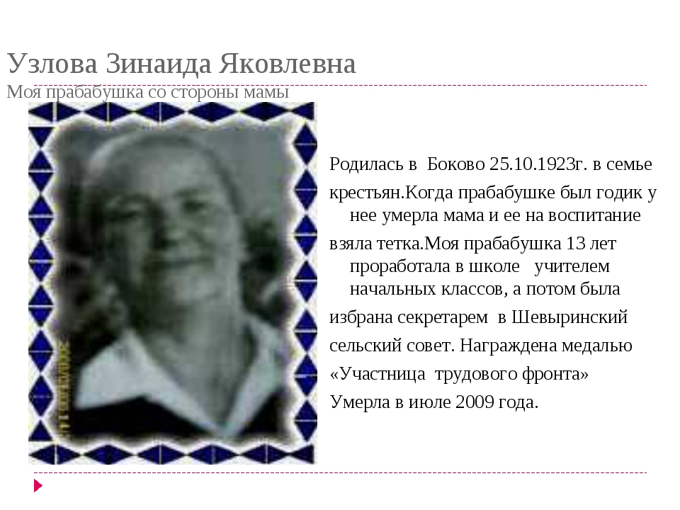 Узлова Зинаида Яковлевна Моя прабабушка со стороны мамы Родилась в Боково 25....
