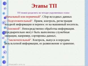 Этапы ТП ТП можно разделить на четыре укрупненных этапа: Начальный или первич