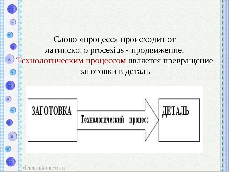 Слово «процесс» происходит от латинскогоprocesius- продвижение. Технологиче...