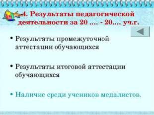 4. Результаты педагогической деятельности за 20 .… - 20.… уч.г. Результаты пр