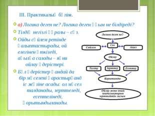 ІІІ. Практикалық бөлім. а) Логика деген не? Логика деген ұғым не білдіреді? Т