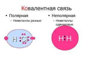 H H Ковалентная связь Полярная Неметаллы разные Неполярная Неметаллы одинаков