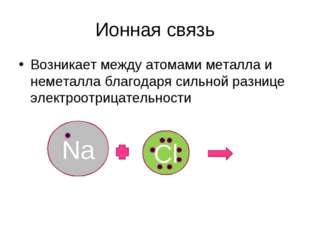 Ионная связь Возникает между атомами металла и неметалла благодаря сильной ра