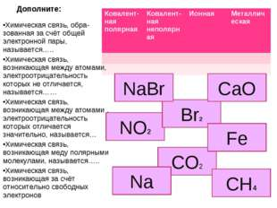 Дополните: Химическая связь, обра-зованная за счёт общей электронной пары, на