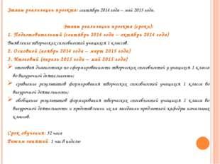 Этапы реализации проекта: сентябрь 2014 года – май 2015 года. Этапы реализаци
