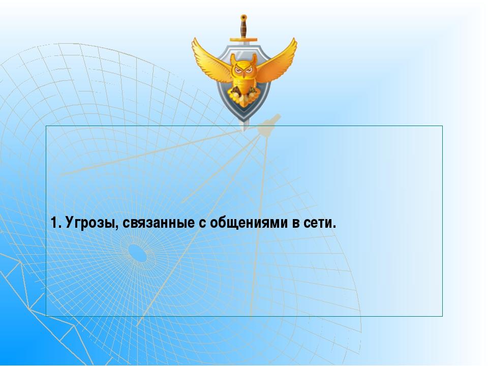 1. Угрозы, связанные с общениями в сети.