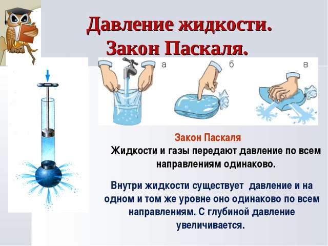 Закон Паскаля Жидкости и газы передают давление по всем направлениям одинаков...