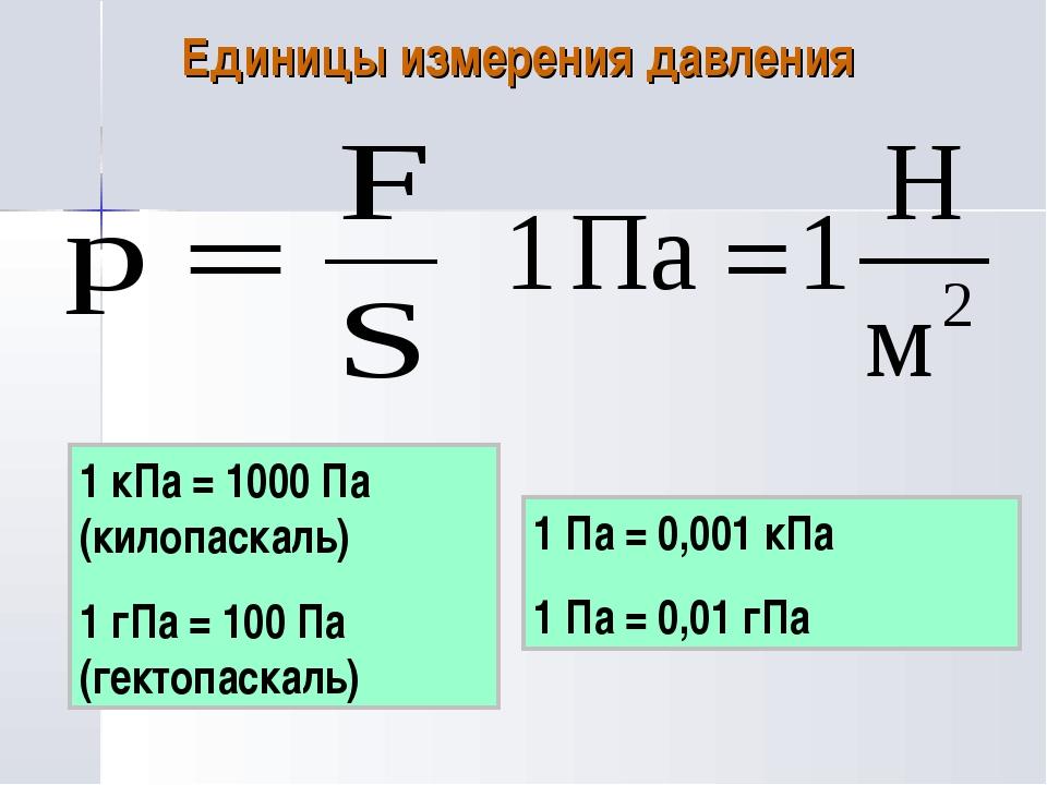 Единицы измерения давления 1 кПа = 1000 Па (килопаскаль) 1 гПа = 100 Па (гект...