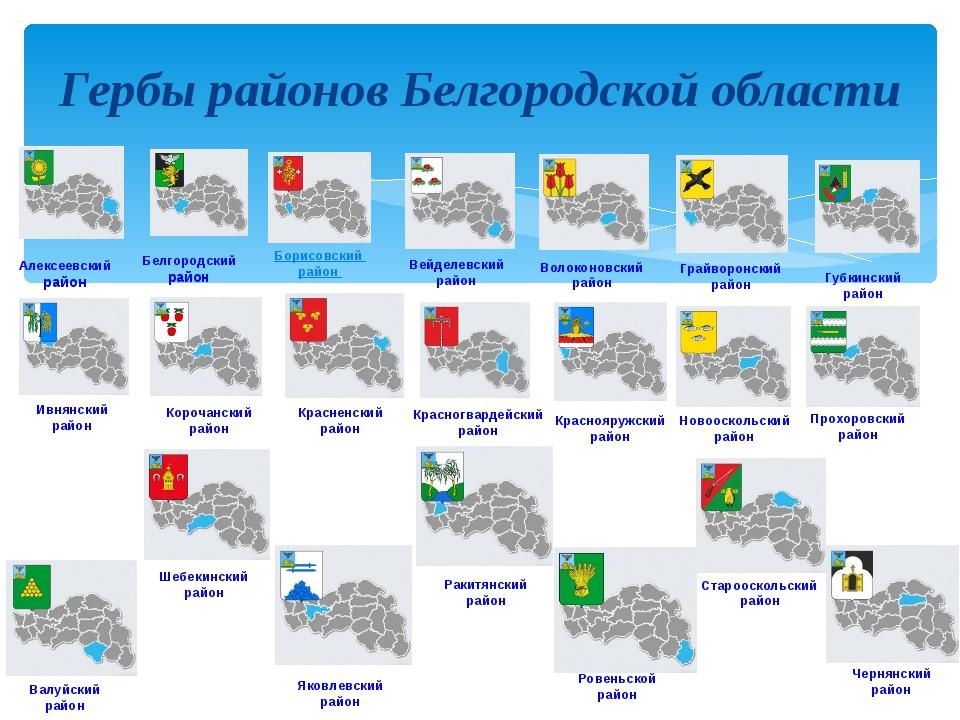 Алексеевский район Белгородский район Борисовский район Вейделевский район В...
