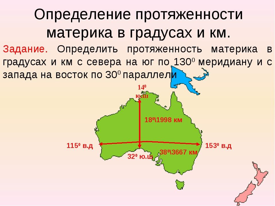 Определение протяженности материка в градусах и км. Задание. Определить протя...
