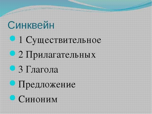 Синквейн 1 Существительное 2 Прилагательных 3 Глагола Предложение Синоним