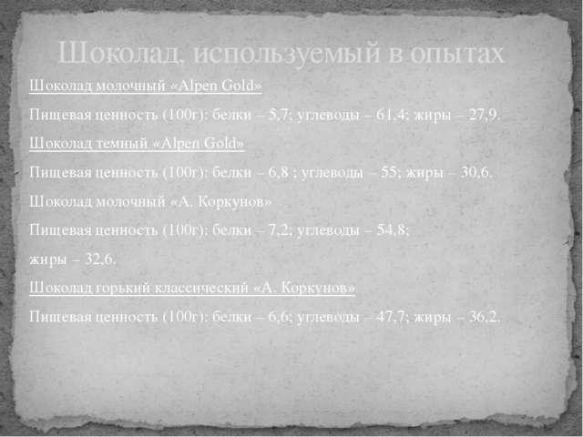 Шоколад молочный «Alpen Gold» Пищевая ценность (100г): белки – 5,7; углеводы...