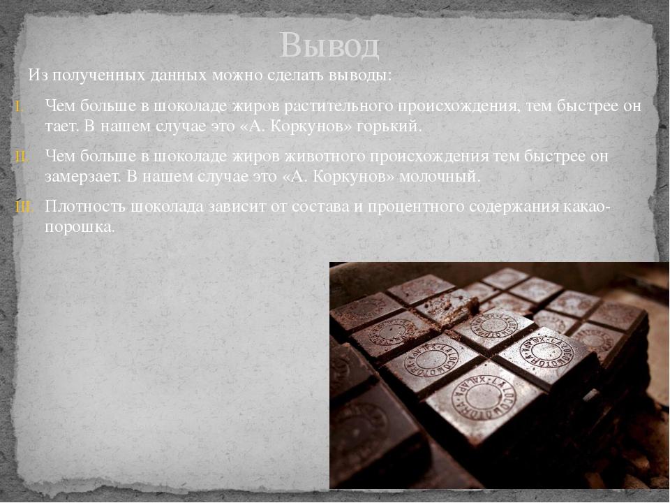 Из полученных данных можно сделать выводы: Чем больше в шоколаде жиров расти...
