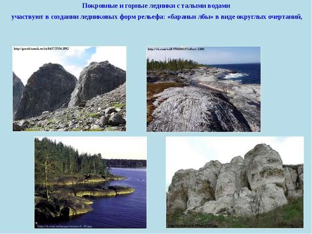 Покровные и горные ледники с талымиводами участвуют в создании ледниковых ф...