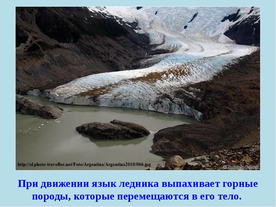 При движении язык ледника выпахивает горные породы, которые перемещаются в ег...