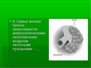 9. Самые мелкие бронхи заканчиваются микроскопическими заполненными воздухом