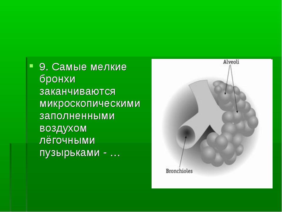 9. Самые мелкие бронхи заканчиваются микроскопическими заполненными воздухом...