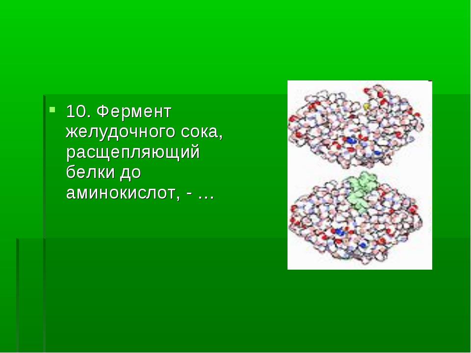 10. Фермент желудочного сока, расщепляющий белки до аминокислот, - …