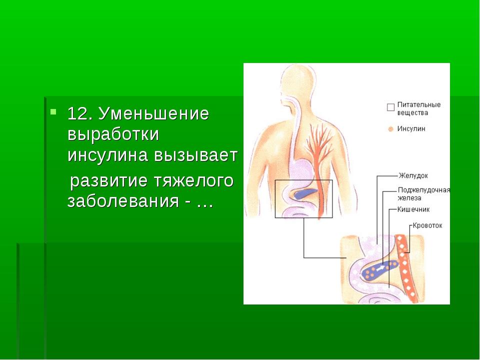 12. Уменьшение выработки инсулина вызывает развитие тяжелого заболевания - …