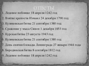 1. Ледовое побоище 18 апреля 1242 год 2. Взятие крепости Измаил 24 декабря 17