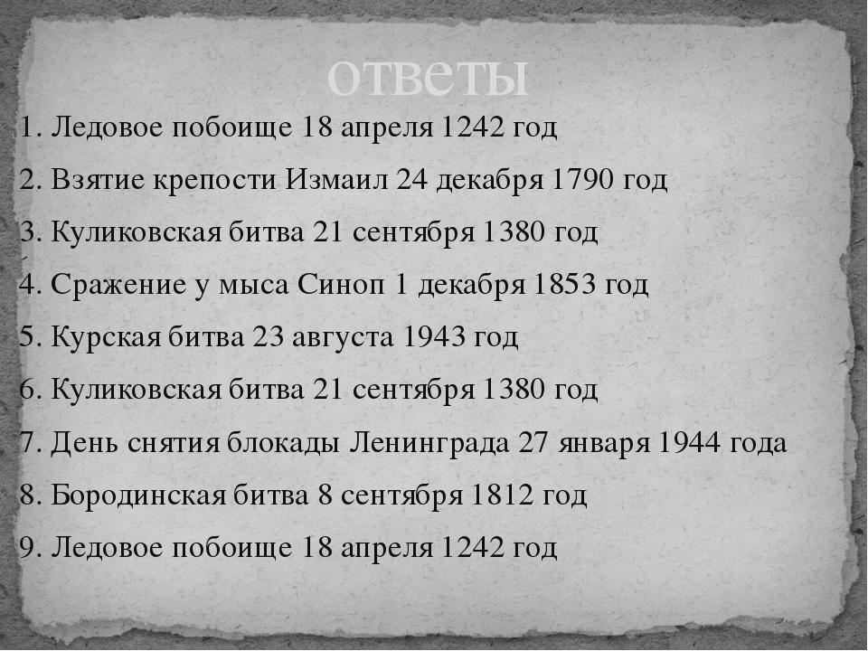 1. Ледовое побоище 18 апреля 1242 год 2. Взятие крепости Измаил 24 декабря 17...