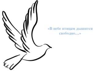 «В небе птицам дышится свободно…»